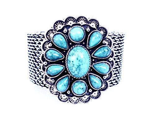 ARGENTO TIBETANO VERDE pietra preziosa del turchese BROAD braccialetto magnetico PER DONNE ARGENTO PLACCATO OXEDISED braccialetto Handmade