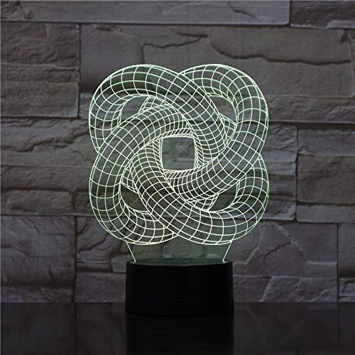 KangYD Spirale Astratta 3D Luce Notturna Visiva, Lampada Da Tavolo A Illusione A LED, Art Decor, Telecomando 7 Colori (Base Nera), Regalo Di Natale, Lampada Per Ufficio