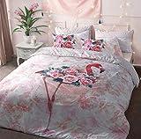 Craze London Flamingo Floral Designer Polyester Baumwolle Bettwäsche-Set Bettbezug Set mit Kissenbezügen Set Einzel-, Doppel-, Super-King-Size-Größen, Flamingo Floral, Einzelbett