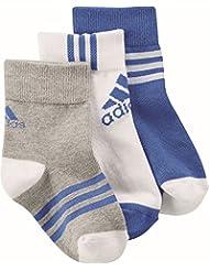 adidas Lk Ankle 3Pp - Calcetines cortos para niños, color gris / blanco / azul, talla 23-26