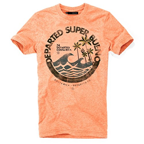 DEPARTED Herren T-Shirt mit Print/Motiv 4051-230 - New fit Größe XL, Sunset orange Triblend -