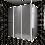 vidaXL Pare baignoire en L à 4 volets rétractables avec porte-serviettes