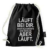 Sambosa Turnbeutel mit Spruch / über 40 Sprüche & designs auswählbar / Beutel: Schwarz / Rucksack / Jutebeutel / Sportbeutel / Hipster , Bag:Rückwärts