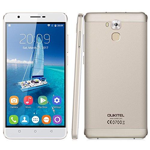 OUKITEL U16 Max 4G Smartphone ohne Vertrag ( 6 Zoll, Android 7.0, 1.3GHz MT6753 Octa Core, 3GB RAM 32GB ROM, 4000mAh, Fingerprintsensor ID, Dual SIM, Dual Kamera, Metallkörper ) (Gold)