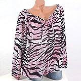 OSYARD Damen Leopard Kleider Plus GrößE Ein Wort Schulter Spitzen, Womens Casual Long ÄRmel Blue Strip Button T-Shirts UnregelmäßIge Tops Bluse (5XL, Rosa)