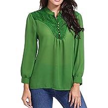 Blusa Mujers Yesmile Camiseta Las Mujeres Blusa de Manga Larga con Cuello en V de Color