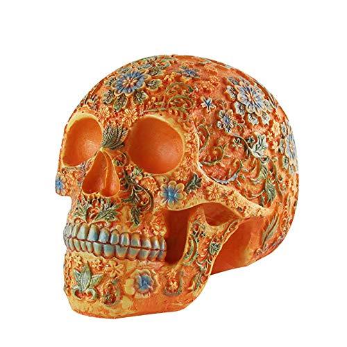 ZQDL Menschlicher Schädel,Harz Schädel Skulptur Tätowieren Medizinische Ausbildung Lehren Hilfe Halloween Dekorationen