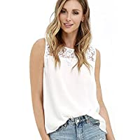 Womens Sleeveless Tops Summer Casual Loose Lace Chiffon Vest Tank T Shirt Blouse
