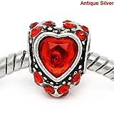 Antique Silver Finish Red Rhinestone Heart Charm Bead. Fits European Style Bracelets Pandora, Troll,...
