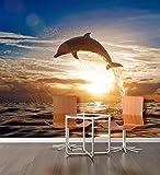PVC Fototapete – ECO Wandbild Selbstklebende Tapete – 3D Vinyl Wandsticker - Delphin springen SW114(150x105CM)