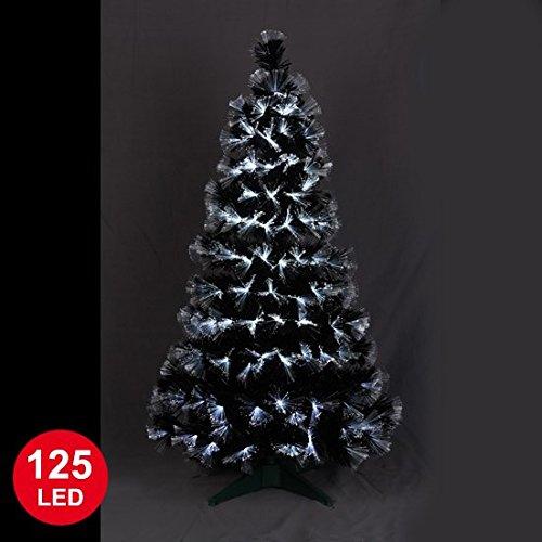 Autour de Minuit 5SAF145BC Las Vegas fibra óptica árbol de Navidad con LED 125 Negro / blanco 120 cm