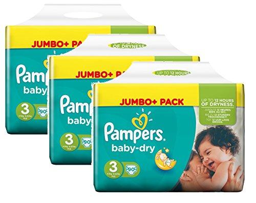 Pampers Baby Dry Größe 3 Midi 4-9kg Jumbo Plus Pack, 3er Pack (3 x 90 Windeln)