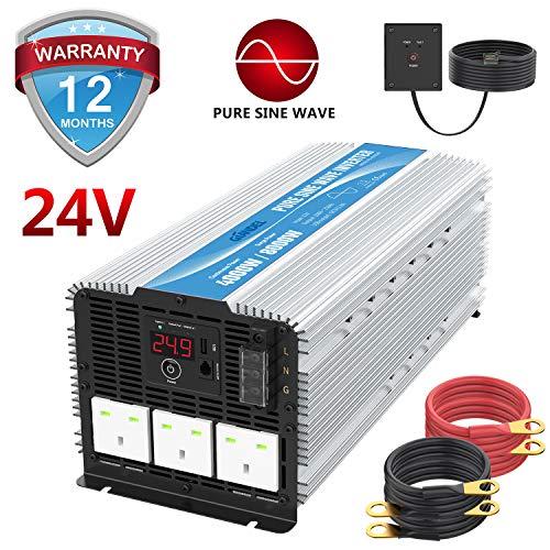 GIANDEL 4000 W Heavy Duty Pure Sinuswelle Wechselrichter DC 24 V zu AC 240 V mit 3 AC Steckdosen mit Fernbedienung 2,4 A USB und LED-Display -