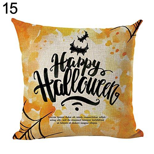 YSoutstripdu Fashion Leinen Kürbis Halloween Skelett Hexe Kissenbezug Werfen Kissenbezüge, 15#, Einheitsgröße