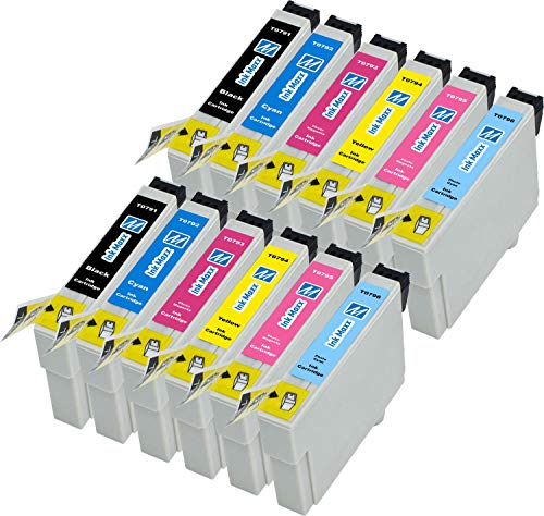 Ink Maxx Bündel von 12 Tintenpatronen Epson T0797 XL für Stylus Photo 1400 1500 W P 50 PX 650 700 710 Serie W 730 WD 800 FW Series 810 830 FWD 720 WD 820 T0791 T0792 T0793 T0794 T0795 T0796 -