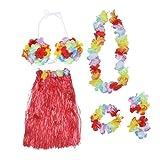 Tinksky Luau Set Hawaiian Hula jupe soutien-gorge Garland bracelet bandeau collier (rouge)