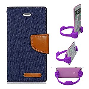 Aart Fancy Wallet Dairy Jeans Flip Case Cover for MeizumM2 (NavyBlue) + Flexible Portable Mount Cradle Thumb OK Designed Stand Holder By Aart Store.