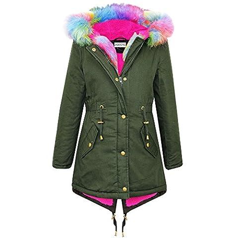 Brand New Ladies Parka Jackets Faux Fur Trim Hood Women Parka Coat Khaki (Rainbow Fur Hood, Size