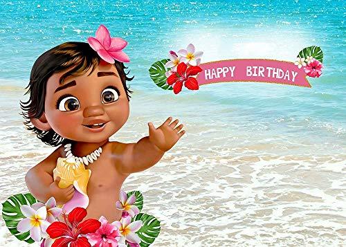 AdaCrazy Baby Moana-Hintergrund-Geburtstagsfeier-Dekor-Fahnen-Seeblaues Wasser-Sommer-Fotografie-Hintergrund-Babyparty-Vinyl-Hintergrund-Tischdekoration (Fotografie-hintergrund-wasser)