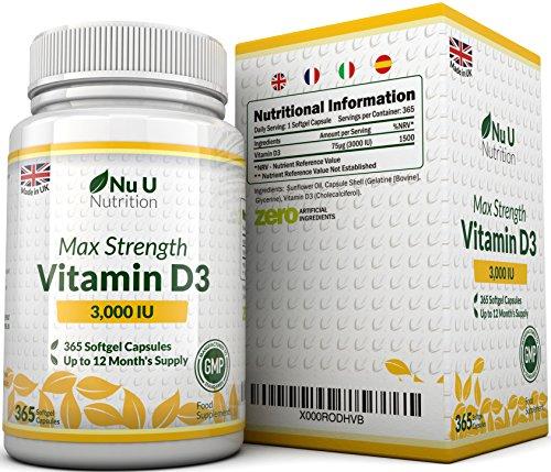 Vitamina D3 3000 UI 365 Cápsulas Blandas (Suministro Para Todo el Año) Suplemento de Vitamina D3 Tres Veces Más Concentrado Colecalciferol de Alta Absorción Libre de Gluten Y Lácteos por Nu U Nutrition