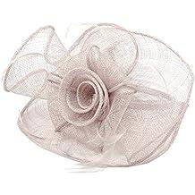 Pandahall,Tocado elegante Reino Unido para las bodas, flores de organza con Pluma, 120m