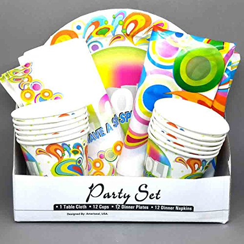 Gododsale Holi Special Paper Party set of 1 Table Cloth, 12 Cup, 12 Dinner Plates and 12 Dinner Napkins  available at amazon for Rs.199