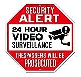 Señal de vigilancia de vídeo de aluminio, resistente al agua, interior y exterior, 24 horas, señales de alerta de seguridad, 30,5 x 30,5 cm, rojo