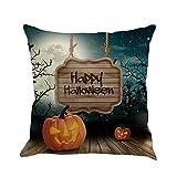 Cuscino di Halloween, Longra Stampa di tema di Halloween 18x18 'cuscino di lino (Multicolor_B)