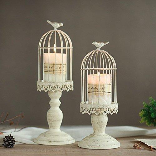 Vintage Vogelkäfig Kerzenleuchter, Dekoration Kerzenhalter für Hochzeit und Esstisch, Kerzenständer aus Eisen mit Schnitzfiguren (2 - Esstisch Kerzenhalter