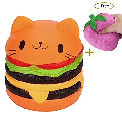 Decompression Toy, Lishy Squishy Jumbo Cartoon Cat Hamburger Scented Slow Rising Exquisite Kid Soft Toy