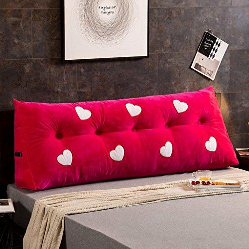 MMM- Coussin de canapé de lit de chevet de coton de coussin de lit de grand lit de double ( Couleur : Rose rouge , taille : 180*22*50cm )