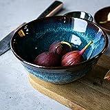 DLewiee Kitchenaid Microwave Cereal Dip Bowl Large Pasta Bowl Blue Dinnerware Ramen Noodle Porridge Soup Bowl Glassa 7 Pollici