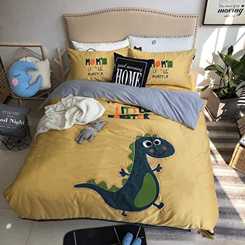 Land Twin-size-bett (SSTony Bettwäsche Dinosaurier Bettwäsche Set ägyptischer Baumwolle Bett Set Twin Large Size Bettlaken gelb Stickerei Bettbezug Set Kinderbettwäsche)