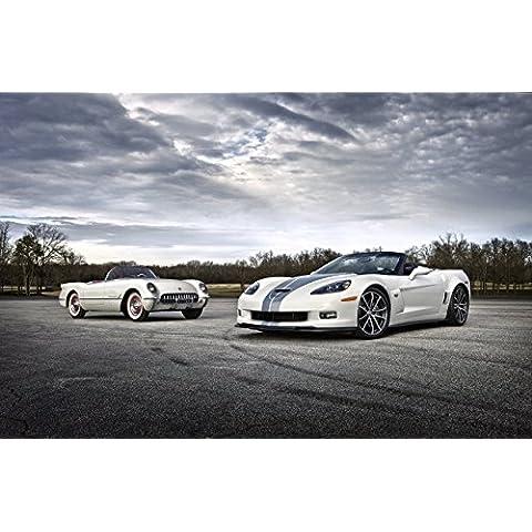 Classic y los músculos de los coches y para coches (C6) Chevrolet Corvette 427 Convertible (2012) coche Póster en 10 mil Archival papel satinado blanco ayer y hoy Duo vista estática, papel, White Yesterday and Today Duo Static View, 24