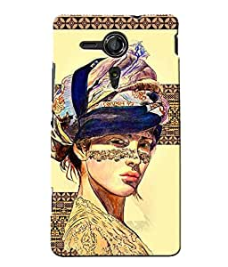 Fuson Egyptian Pattern Girl Back Case Cover for SONY XPERIA SP - D3907