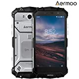 Smartphone ohne Vertrag, AERMOO M1 IP68 Wasserdichte Outdoor Handy - Dual SIM Robustes Smartphones Android 7.0 - 4G 5.2' FHD - Helio P25 Octa-core - 6G RAM+64G ROM - 8.0MP+21.0MP - 5580mAh - Silber