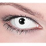 """1 Paar Farbige Kontaktlinsen """"White Zombie"""" Weiß deckend - Weiche Tageslinsen - Ohne Stärke - Halloween Karneval Party Motivlinsen Blind"""