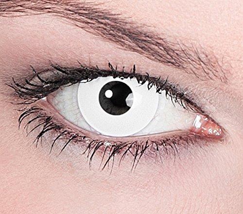 Preisvergleich Produktbild 1 Paar Farbige Kontaktlinsen White Zombie Weiß deckend - Weiche Tageslinsen - Ohne Stärke - Halloween Karneval Party Motivlinsen Blind