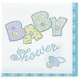 Unique Babyparty-Servietten Baby Shower, blau, 33 x 33 cm, 16er-Pack, Party Tischdeko Geburt