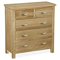 Roseland Furniture London Oak 2+3 Chest of Drawers, Beige, 90 x 85 x 38 cm