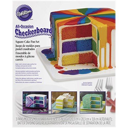 Wilton Checkerboard Square Cake Tin Set, Non Stick, 20.3 x 20.3 x 3.8cm (8in x 8in x 1.5in), 4 pieces