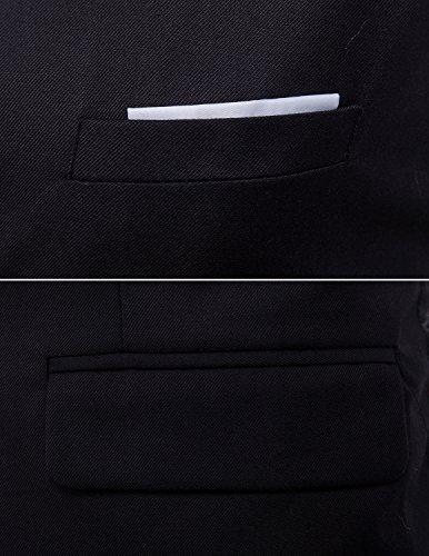 Boom Fashion Herren 4 Knopf Anzugweste Freizeit Business Casual Slim Fit Weste Einfarbig Mit V-Ausschnitt Schwarz