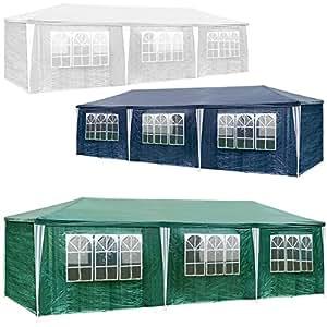 TecTake Gazebo tendone tenda padiglione da giardino per eventi il campeggio festa della birra con parti lateralin 3x9m 9x3m - disponibile in diversi colori - (Verde)