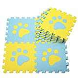 GRENSS Das Baby Krabbeln mat Schaum Bodenfliese Anti-Rutsch-Pad PE Kind Footprints Puzzle Matten, 30 * 30 * 1,0cm [10], Blau/Gelb Footprints