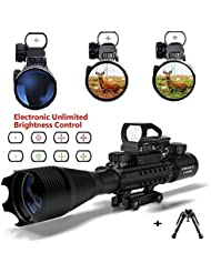 Rifle Pistolas de aire con Bipod, UMsky C4-16x50 Airsoft Alcance Rojo y Verde Mil-Dot Iluminado Range Finder Reticulo y Multi Optical Coated Holographic Dot Sight Optics (Scope c)