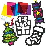 Decorazioni natalizie effetto vetro colorato per bambini (confezione da 6)