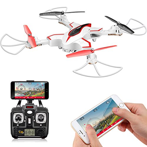 Drone Pieghevole Con Telecamera HD FPV DoDoeleph Syma X56W, Controllo Drone, FPV Droni ,RTF, RC Quadricottero Con Funzione Senza Testa (Headless), Mantenimento Altitudine, Funzione 3D Flips, Controllo a Distanza, Elicottero bianco..