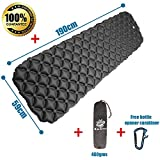 Wild Earth Ultra Lightweight Inflatable Sleeping pad Camping Roll Mat Sleep Pad (Grey)