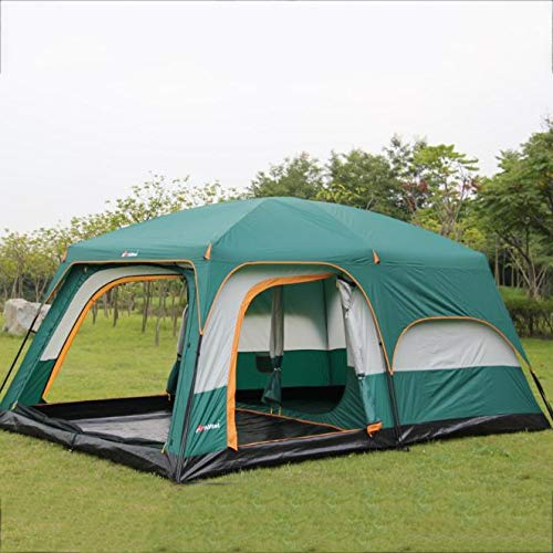 Aunlpb 8 persone doppio strato tenda da campeggio, 3 porte 2 camere e 1 finestra, tenda da campeggio con schermato in veranda, anti resistente all'acqua antivento con borsa da trasporto