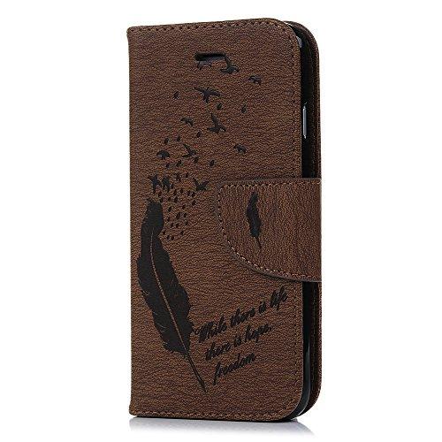 iPhone 7 Hülle Case YOKIRIN Druckfedern PU Leder Handyhülle Tasche Schutzhülle Flipcase Protective Schale Hardcase Bookcover Handytasche(Braun) Braun